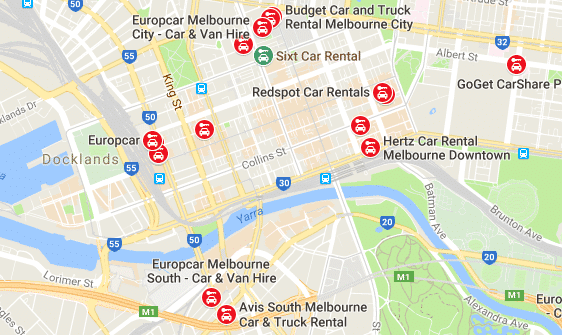 car rental melbourne map