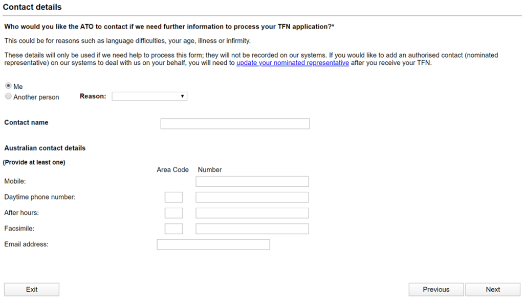 tfn australia application